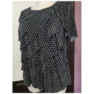 Cj Banks Polka dot layered blouse Sz 1x